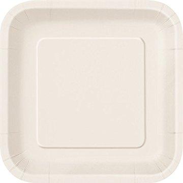 Πιάτα φαγητού τετράγωνα 23εκ. λευκά μονόχρωμα 14τεμ.