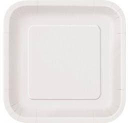 Πιάτα γλυκού τετράγωνα 18εκ. λευκά μονόχρωμα 16τεμ.
