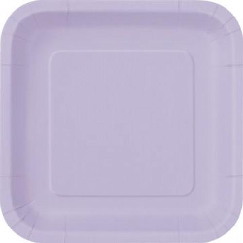 Πιάτα φαγητού τετράγωνα 23εκ. λιλά μονόχρωμα 14τεμ.