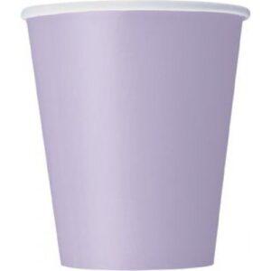 Ποτήρια χάρτινα λιλά 270ml μονόχρωμα 14τεμ.