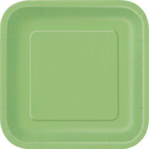 Πιάτα γλυκού τετράγωνα 18εκ. λαχανί μονόχρωμα 16τεμ.