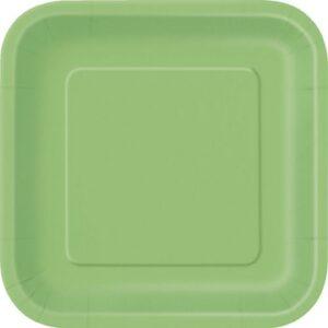 Πιάτα φαγητού τετράγωνα 23εκ. λαχανί μονόχρωμα 14τεμ.
