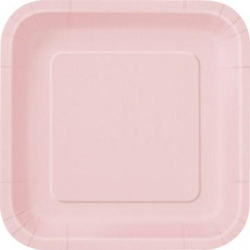 Πιάτα φαγητού τετράγωνα 23εκ. ροζ μονόχρωμα 14τεμ.