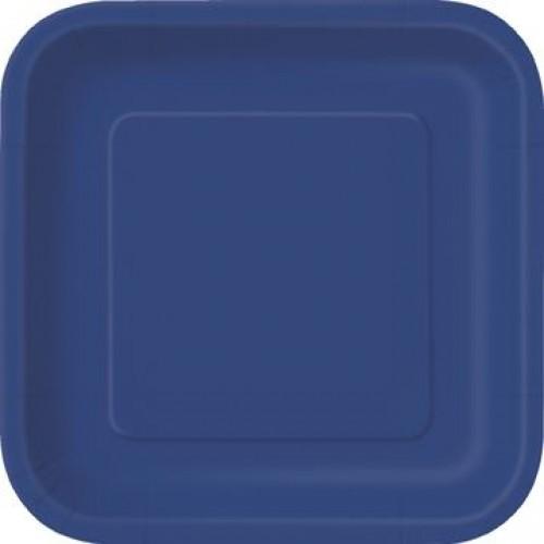 Πιάτα γλυκού τετράγωνα 18εκ. μπλε μονόχρωμα 16τεμ.