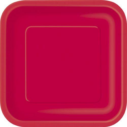 Πιάτα γλυκού τετράγωνα 18εκ. κόκκινα μονόχρωμα 16τεμ.