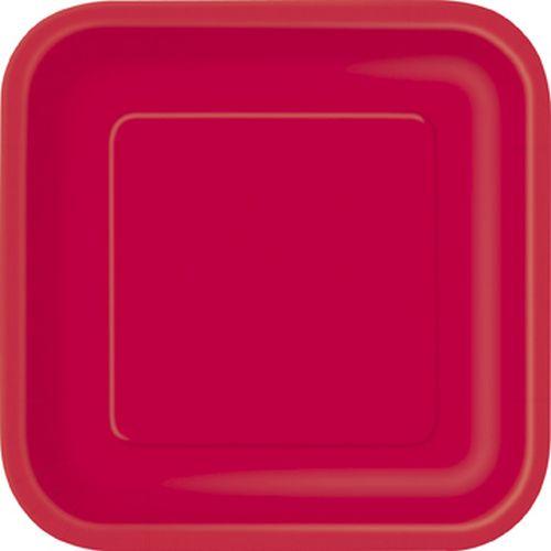 Πιάτα φαγητού τετράγωνα 23εκ. κόκκινα μονόχρωμα 14τεμ.