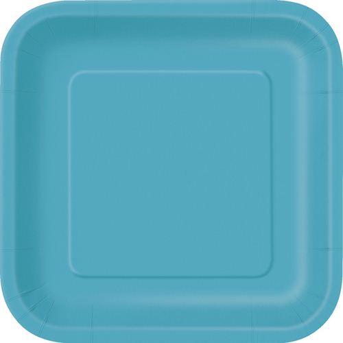 Πιάτα γλυκού τετράγωνα 18εκ. τυρκουάζ 16τεμ.