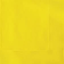 Χαρτοπετσέτες  Φαγητού Κίτρινες μονόχρωμες 33x33cm 20τεμ.