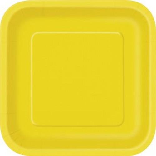 Πιάτα γλυκού τετράγωνα 18εκ. κίτρινα μονόχρωμα 16τεμ.
