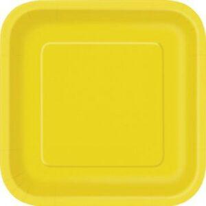 Πιάτα φαγητού τετράγωνα 23εκ. κίτρινα μονόχρωμα 14τεμ.
