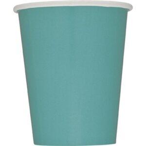 Ποτήρια χάρτινα τυρκουάζ 270ml μονόχρωμα 14τεμ.