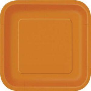 Πιάτα γλυκού τετράγωνα 18εκ. πορτοκαλί μονόχρωμα 16τεμ.