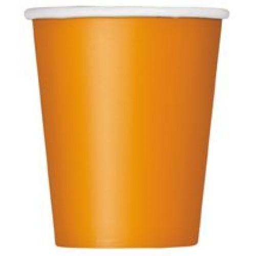 Ποτήρια χάρτινα πορτοκαλί 270ml μονόχρωμα 14τεμ.