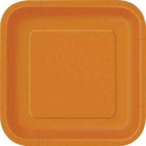 Πιάτα φαγητού τετράγωνα 23εκ. πορτοκαλί μονόχρωμα 14τεμ.