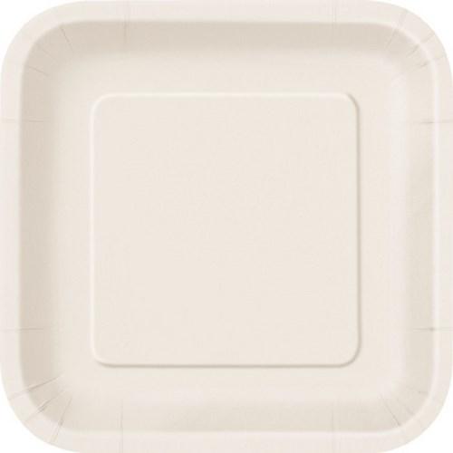 Πιάτα φαγητού τετράγωνα 23εκ. ιβουάρ μονόχρωμα 14τεμ.