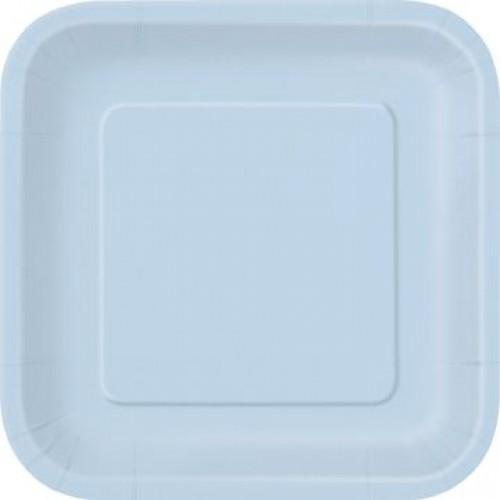 Πιάτα γλυκού τετράγωνα 18εκ. γαλάζια μονόχρωμα 16τεμ.