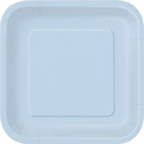 Πιάτα φαγητού τετράγωνα 23εκ. γαλάζια μονόχρωμα 14τεμ.