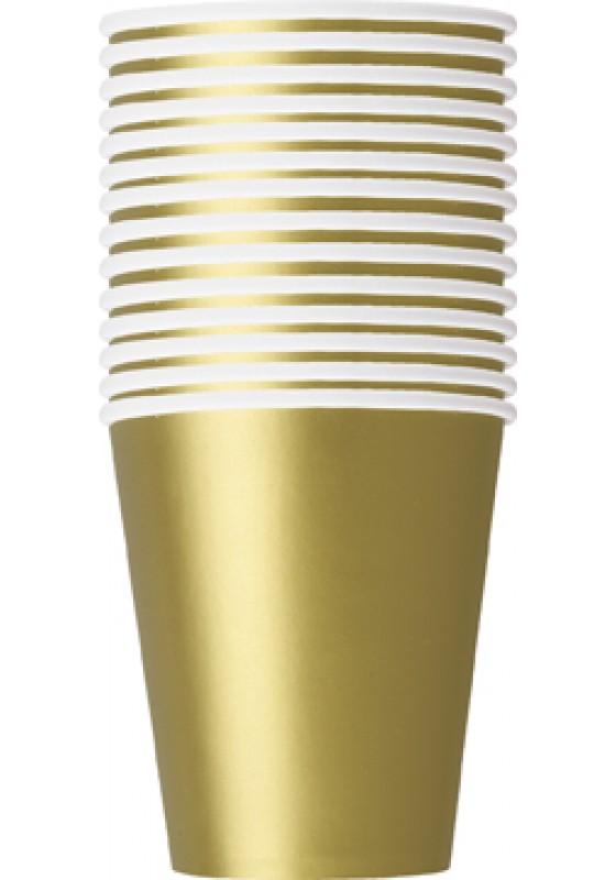 Ποτήρια χάρτινα χρυσά 270ml μονόχρωμα 14τεμ.