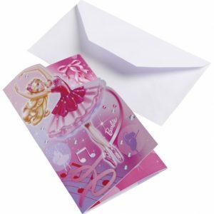 Προσκλήσεις και φάκελοι Barbie Pink Shoes 6τεμ.