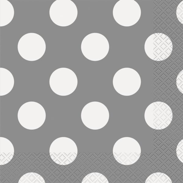Χαρτοπετσέτες ασημί πουά 33x33εκ. 16τεμ.