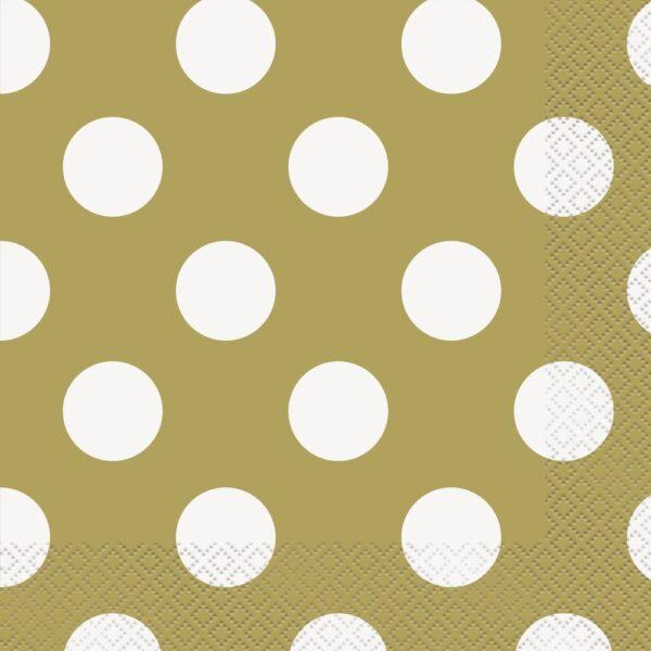 Χαρτοπετσέτες χρυσές πουά 33x33εκ. 16τεμ.