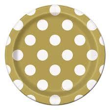 Πιάτα γλυκού 18εκ. χρυσά πουά 8τεμ.