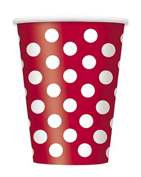 Ποτήρια χάρτινα 355ml κόκκινα πουά 6τεμ.