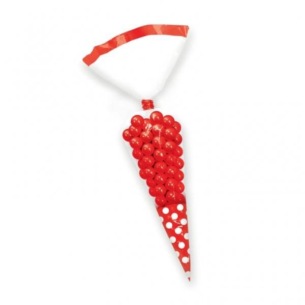Σακούλες νάυλον χωνί κόκκινο πουά 24,7cm 10τεμ.