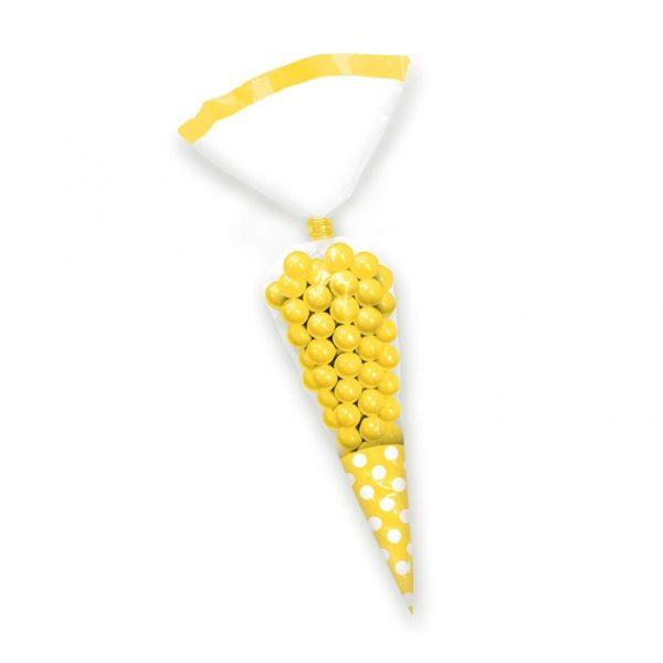 Σακούλες νάυλον χωνί κίτρινο πουά 24,7cm 10τεμ.