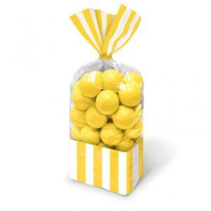 Σακούλες νάυλον 27,3x8,3εκ. κίτρινες ριγέ 10τεμ.