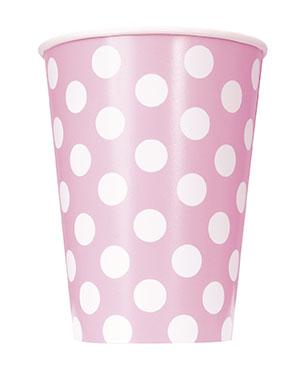 Ποτήρια χάρτινα 355ml ανοιχτό ροζ πουά 6τεμ.