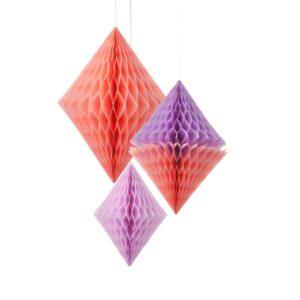 Κρεμαστά Διακοσμητικα Honeycomb ρόμβοι 3 τεμ