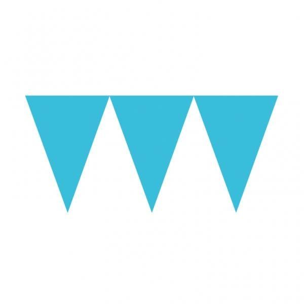 Γιρλάντα Τρίγωνα Σημαιάκια χάρτινη Τυρκουάζ 4,5μ 1τεμ
