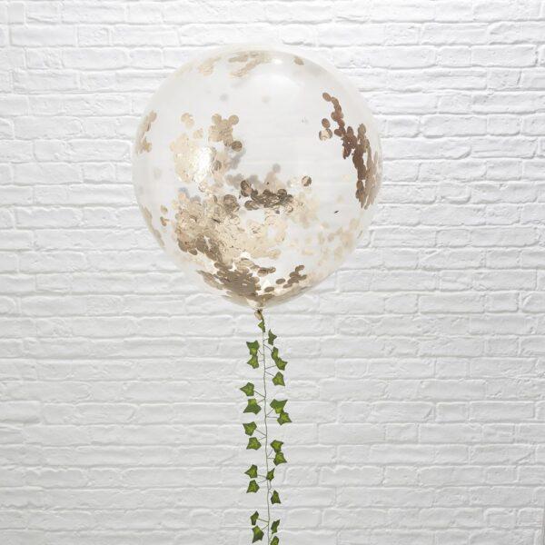 Γιγάντιο Μπαλόνι με Ροζ Χρυσό Κομφετί 3τεμ. 36''