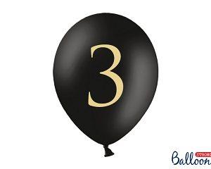 """Μπαλόνι Μαύρο Παστέλ """"3"""" Χρυσό 1τεμ. 30εκ."""