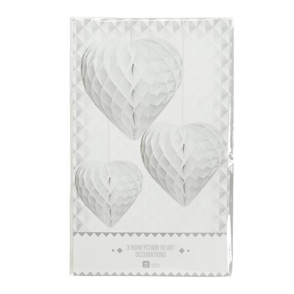 Honeycomb Λευκές Καρδιές 3 τεμ