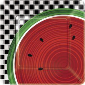 Πιάτα φαγητού 23εκ. watermelon checκ 8τεμ.