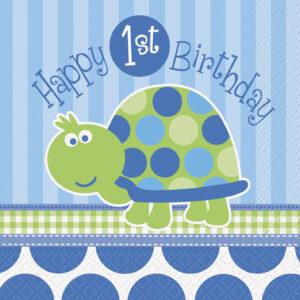 Χαρτοπετσέτες 1st birthday turtle 16τεμ.