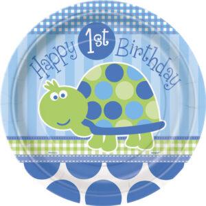 Πιάτα φαγητού 20εκ. 1st birthday turtle 8τεμ.