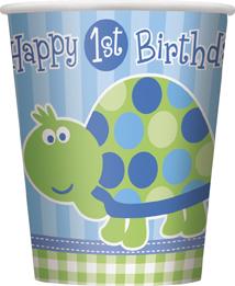 Ποτήρια 270ml 1st birthday turtle 8τεμ.