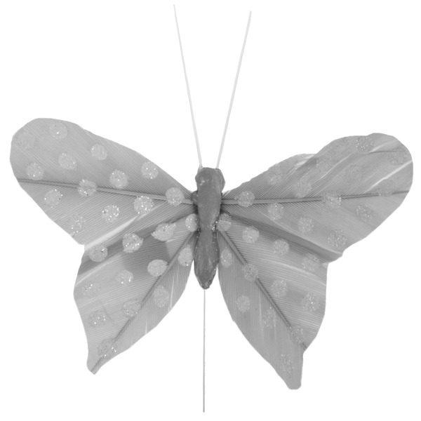 Διακοσμητική πεταλούδα γκρί πουά σε stick 6τεμ.