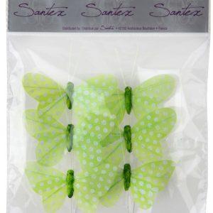 Διακοσμητική πεταλούδα φούξια πουά σε stick 6τεμ.