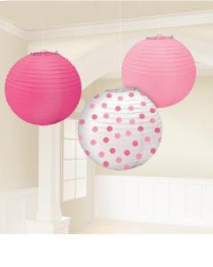 Χάρτινη Διακοσμητική Μπάλα Ροζ-Φούξια-Λευκό Πουά 24,1cm 3τεμ.