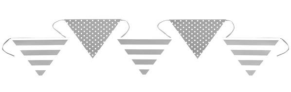 Γιρλάντα Σημαιάκια Πουά/Ριγέ 6μ. Γκρι