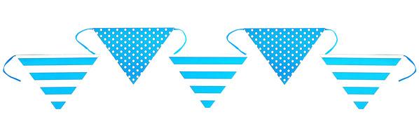 Γιρλάντα Σημαιάκια Πουά/Ριγέ 6μ. Γαλάζια