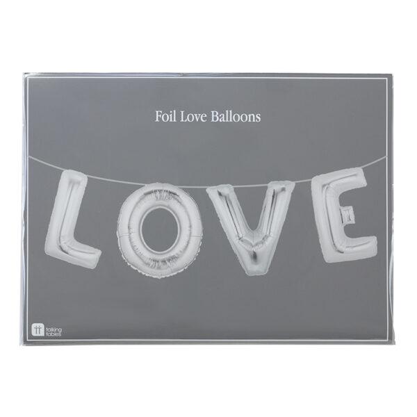 """Γιρλάντα μπαλόνι foil ασημένια """"LOVE"""""""
