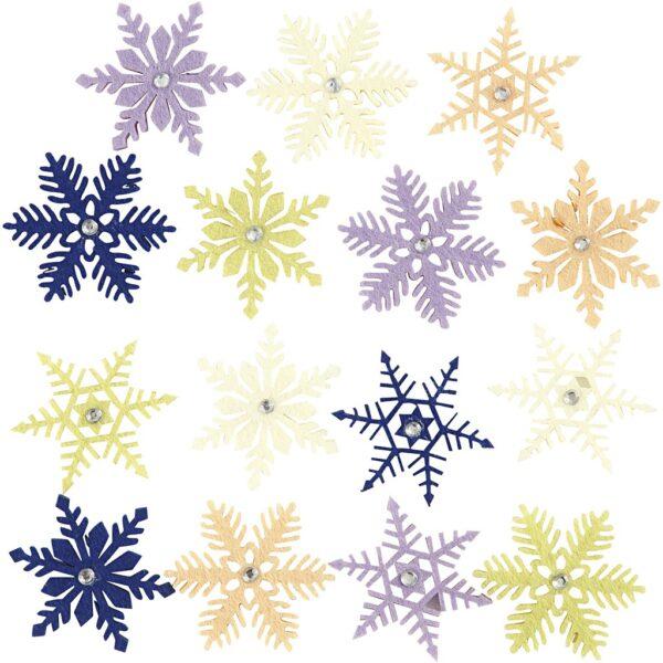 Χιονονιφάδες Φελτ Χρωματιστές 120τεμ.