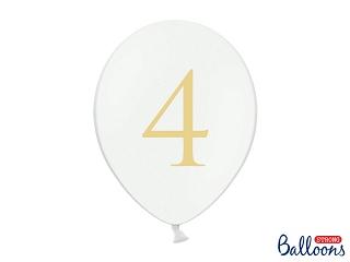 """Μπαλόνι Λευκό Παστέλ """"4"""" Χρυσό 1τεμ. 30εκ."""