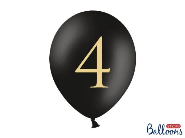 """Μπαλόνι Μαύρο Παστέλ """"4"""" Χρυσό 1τεμ. 30εκ."""