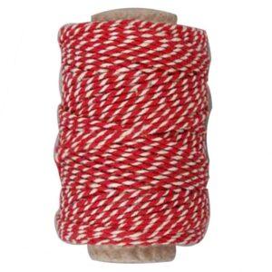 Κορδόνι Βαμβακερό Ριγέ Κόκκινο-Λευκό 1τεμ.